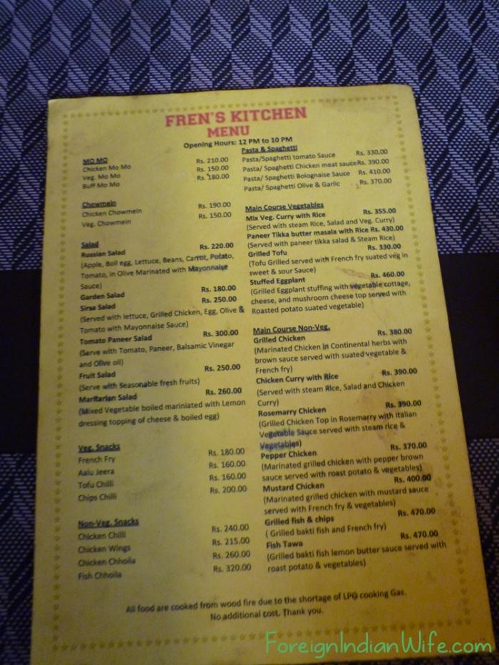 Fren kitchen menu kathmandu nepal