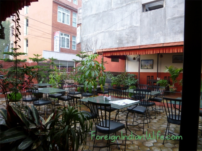 The beautiful outdoor seating and garden.